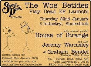 Woe Betides Launch Party flyer